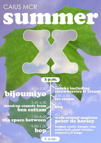 Summer X running order